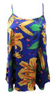 AJOY BLUE FLORAL LIGHT WEIGHT SINGLET TOP W/ CROSS OVER SPAGHETTI STRAPS.M,L,XL.