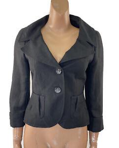 WALLIS Black Linen Blend Slim Fit Short Jacket 10 Worn Once Great Condition