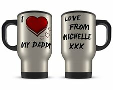 Personalised 14oz I Love My Daddy Novelty Gift Aluminium Travel Mug