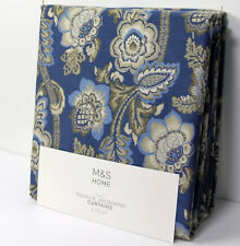"""New M&S Floral Jacquard EYELET CURTAINS ~ Blue Mix ~ 90"""" Drop x 66"""" W (rrp £119)"""