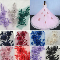 3D Embroidery Flower Lace Bridal Applique Pearl Beaded Tulle DIY Wedding Dress