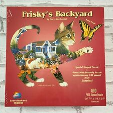 SunsOut Puzzle FRISKY'S BACKYARD Sealed Cat Shaped Puzzle New Sealed