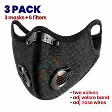 [3 PACK] BLACK Mesh Cycling Face Mask Valves + 2 Filters Outdoor Bike Sport