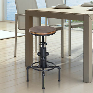 Bar stool Swivel Chair Dining Wooden Top Adjustable W/Footrest Pine Wood Steel