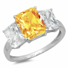 4ct Emerald 3 Stone Natural Citrine Promise Bridal Wedding Ring 14k White Gold