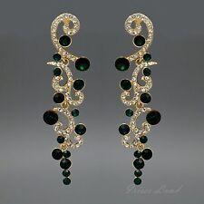 18K Gold Plated Green Crystal Rhinestone Drop Dangle Chandelier Earrings 00179