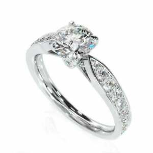 1.8ct Round Cut Diamond Engagement Ring Accent with Solitaire 14k WhiteGold Over