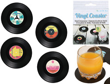 4pc Retrò Vinile RECORD CD Coaster MUSICA DRINK CUP HOLDER Tappetini Stoviglie Regalo Nuovo