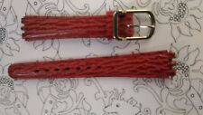 BRACELET  DE MONTRE watch band  /// cuir VACHETTE pour swatch rouge 15mm  /KF12