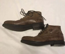 Brown Leather Cap Toe Ankle Boots Made In Italy Mens Size EUR 44 US 11