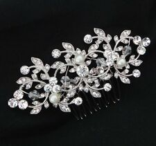 Wedding Vintage Bridal Hair Comb Headpiece Swarovski Crystal Silver White Pearl