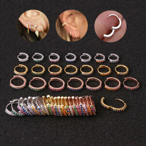 Surgical Steel Rainbow CZ Conch Hoop Cartilage Helix Nose Ring Piercing Earring