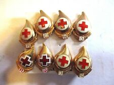 Red Cross Blood Donor Pin lot Gallon   #s 7 8 9 10 Gold Plated Hallmarked