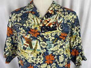 Tommy Bahama Hawaiian Shirt Men L Santa Let The Good Times Roll 2006 SILK LE