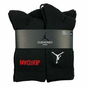 6 Pairs Nike Jordan Kids CUSHIONED Crew SOFT BLACK Socks Shoe10C-3Y 3Y-5Y 5Y-7Y