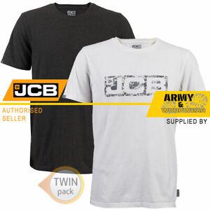 2 x JCB Mens T-Shirts Short Sleeve Work Shirt Top Summer Tee Shirt Grey & White