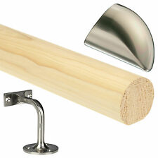 Pine 4.2mtr Mopstick Handrail,Brushed Nickel Handrail Brackets & End Caps