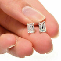 1Ct Emerald Cut Diamond Solitaire Stud Screw Back Earrings 14k White Gold Finish