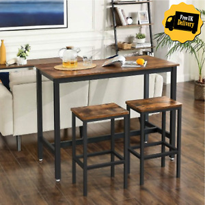 Industrial Tall Rustic Bar Kitchen Table and Stools Vintage Breakfast Dining Set