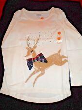 NWT Gymboree Girls SZS 5 & 7 Ivory Reindeer, Sequins, Plaid Bow Christmas Shirt