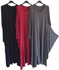 New Ladies Side Draped Italian Lagenlook Quirky Soft Jersey 3/4 Sleeve Dress
