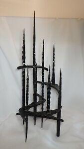 Vintage Mid Century David Palombo Metal Painted Hanukkah Lamp Nine Brutalist Art