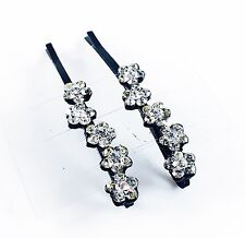USA Bobby Pin Rhinestone Crystal Hair Clip Hairpin Jeweled Flower Black B01