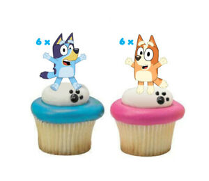 12x Edible Bluey & Bingo Wafer Card Cupcake Cake Toppers Party Decorations uncut