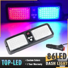86 LED Red Blue Emergency Beacon Warning Traffic Sun Visor Flashing Strobe Light