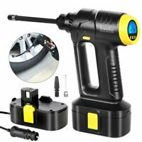 12V Portable Cordless Air Compressor Tire Inflator Digital LCD Pump For Car Bike