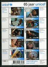 Nederland V2823a-2832a 2011 Vel 65 jaar UNICEF met toeslag cat waarde € 20