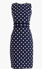 NWT J.CREW Petitesheath dress in spotted tweed Polka Dot Navy H8051 Sleeveless 2