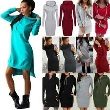 Sporty Womens Casual Solid Hooded Long Sleeve Drawstring Hoodies Jumper Dresses