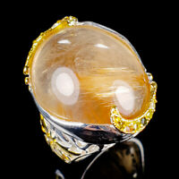 Handmade30ct+ Natural Rutilated Quartz 925 Sterling Silver Ring Size 8/R121992