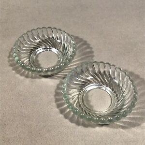 PV06772 Antique EAPG Clear SWIRL Candle Candelabra Cupped Bobeche - 2pcs