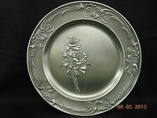 SKS PEWTER WALL PLATE WITH ROSES NEW  MADE IN GERMANY