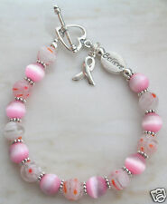 Breast Cancer Awareness Bracelet Cats eye murano glass