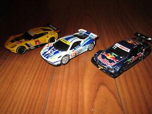 3 CARRERA 1/43 SCALE SLOT CARS FERRARI, C7R CORVETTE, BMW M4 DTM CARRERA SLOT CA