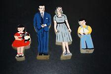 Vtg Guildcraft Doll House Figures Wooden 4 pcs Mom Dad Daughter & Son     -FF
