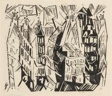 LYONEL FEININGER   Pariser Häuser (Houses in Paris); and four woodcuts (Prass...