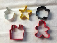 Set of 5 Cookie Cutters  Metal, Clown Star Flower Birthday Cake Gingerbread Man