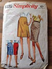 Vintage SIMPLICITY sewing pattern (6336)  SKIRTS waist 32 inch