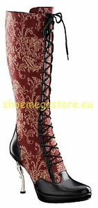 Inamagura Metall Dornabsatz Stiefel Rot 24HSB100 Paisly Red