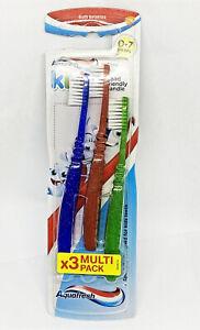 AQUAFRESH Kids Toothbrush Manual Oral Toothbrush 3 Pack Soft Bristles 0-7 Years
