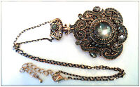 Vintage Natural Gray Crystal gemstone Ladys Antique Gold Statement Necklace