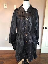 VTG FERAUD Black Drop Waist Nylon Duster Coat SZ US 10