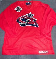 Vintage CCM CENTER ICE Columbus Blue Jackets Practice Jersey Men's Large RED