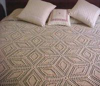 "Vintage Queen Size Hand Crocheted Bedspread 120"" x 107"" with Fringe Ecru Star"