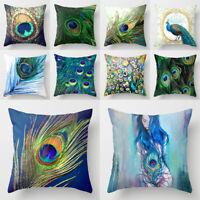Home Pillowcase Peacock Feather Printed Colorful Pillow Cover Cushion Sofa Decor