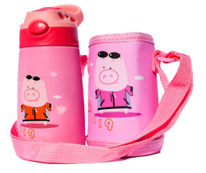 Cartoon Kids Vacuum Flask Pink Coffee Water Straw Bottle Thermos Cup 350ML Gift
